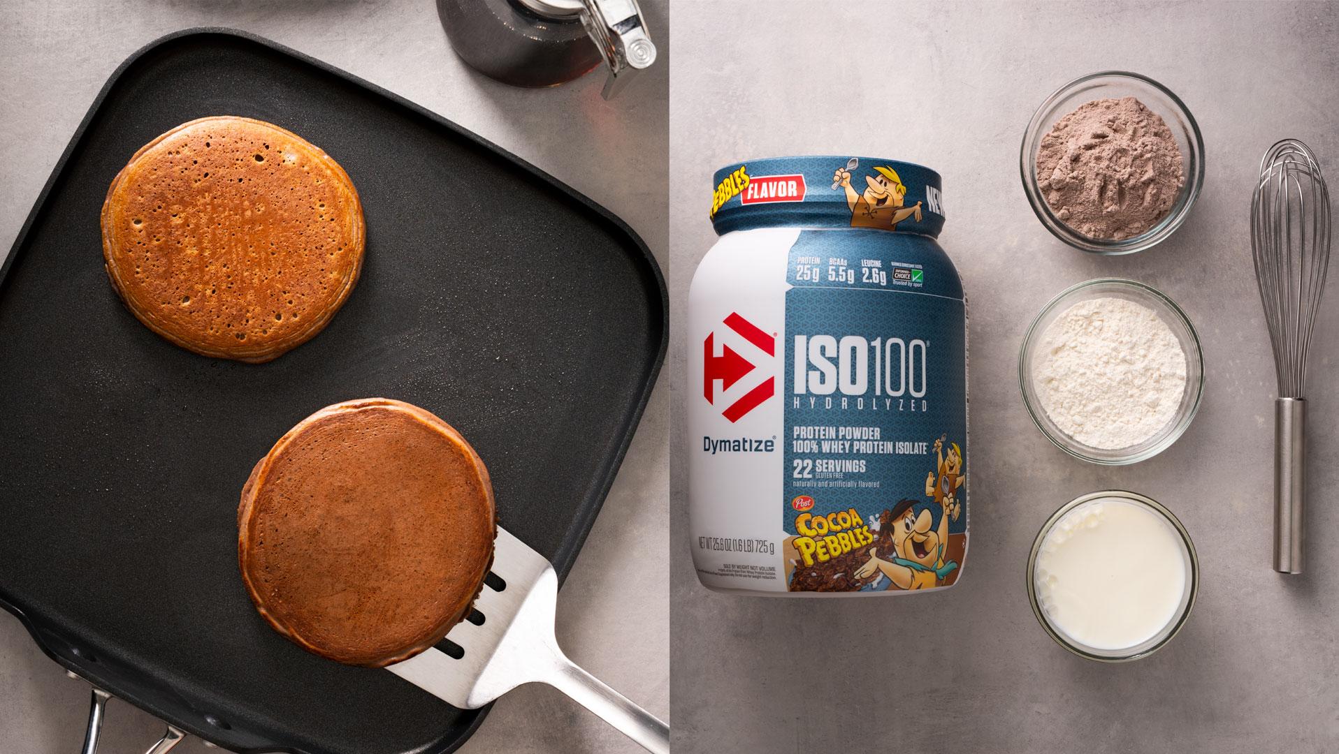 Cocoa Pebbles Protein Pancakes